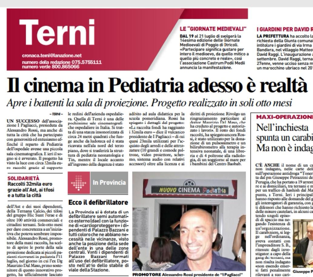 """La Nazione: """"Il Cinema In Pediatria Adesso è Realtà"""""""