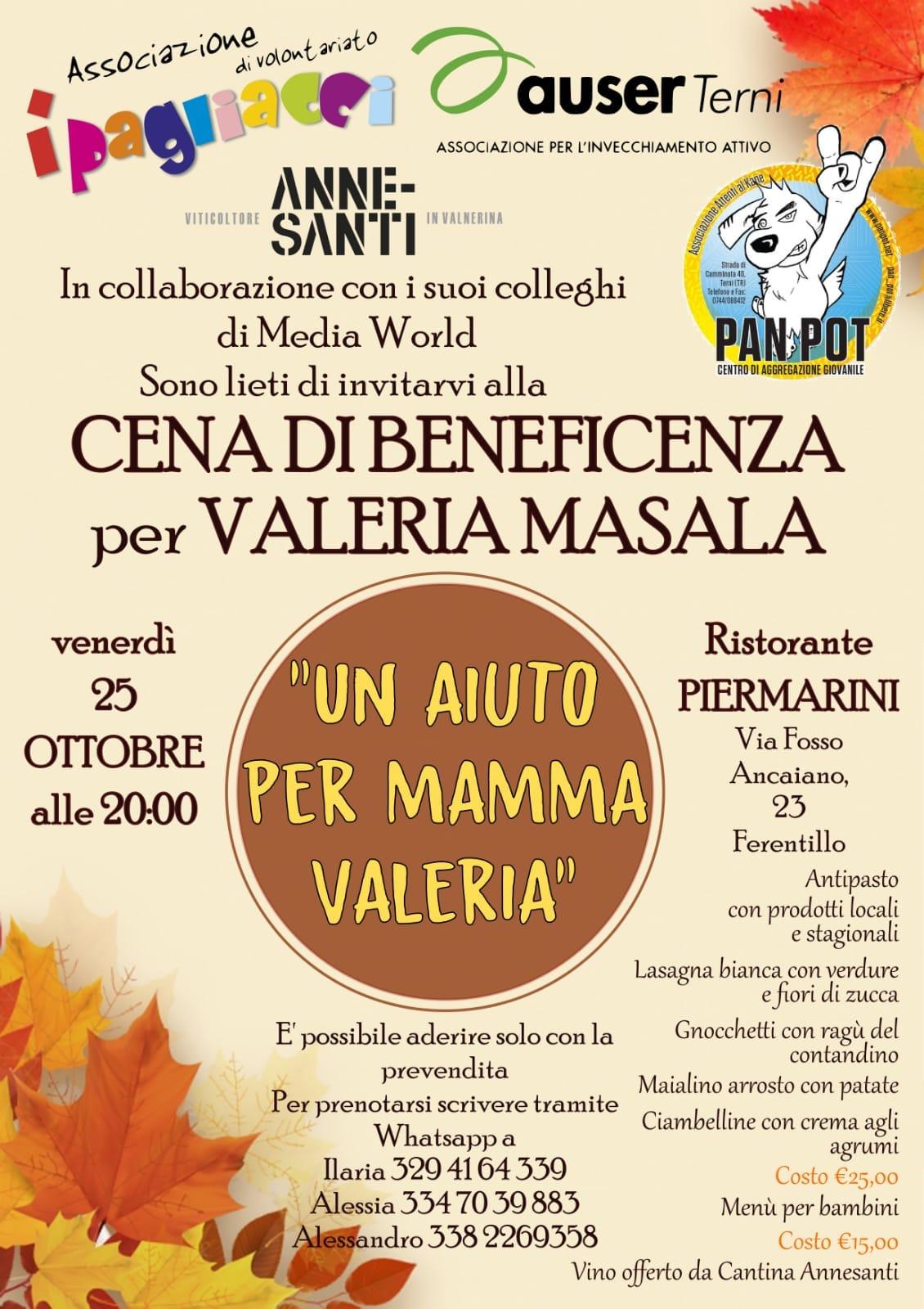 Cena di beneficenza per Valeria Masala